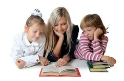 Mum With A Daughter Read Book Royalty Free Stock Images
