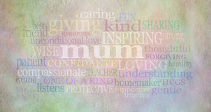 Mum Word Cloud on parchment. Pastel colored parchment stone effect background with a soft mum word cloud scattered across Royalty Free Stock Images