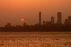 城市黎明mumbai地平线 免版税图库摄影