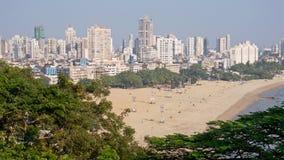 Mumbai beach and skyline Stock Photos