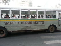Mumbai bus. Notice the dents on the side of this bus Stock Photo