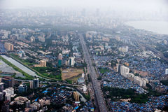Mumbai city1. A bird's-eye view of Mumbai city with slum Royalty Free Stock Image