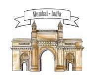 Mumbai city gate way icon, India. Famous indian Maharashtra gates. Mumbai city gate way icon, India. Famous indian hand drawn Maharashtra landmark. Travel India Stock Image