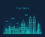 Mumbai City skyline vector illustration line art. Mumbai City skyline detailed silhouette Trendy vector illustration line art style Stock Photography