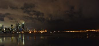 Mumbai City At Whee hours with Worli sea link lights royalty free stock images