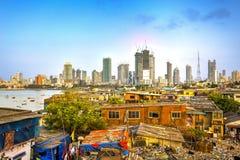 Mumbai city, India. Mumbai cityscape with a big contrast between poverty and wealth, Maharashtra, India stock photography