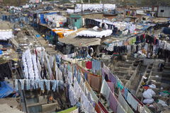 Mumbai dhobi ghat. A view of Mumbai's dhobi ghat Stock Photos