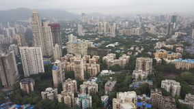New infrastructure complex developing suburbs of Mumbai. Mumbai is financial capital of India. New tall high rise apartment buildings are developing in far Stock Photos