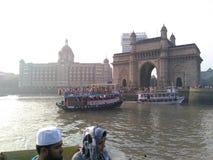 Mumbai. Gate of india and taj hotel mumbai Stock Photos
