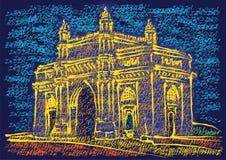 Mumbai Gateway of India. An illustration of sketch of the city of Mumbai Stock Image