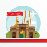 Mumbai, gedetailleerd silhouet In vectorillustratie, vlakke stijl Stock Afbeeldingen
