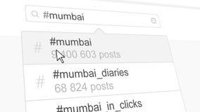 Mumbai hashtag search through social media posts. 3D rendering. Mumbai hashtag search through social media posts Royalty Free Stock Images
