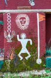Art painted on the wall of a Warli temple inside Mumbai`s SGNP. stock image
