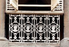 Old cast iron railings with Queen Victoria effigies, Mumbai stock photography