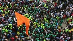 Mumbai India 15 Augustus, 2014: Het Ganeshidool bij de optochten merkt begin van de Ganesh Festival-viering stock footage