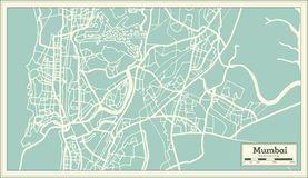 Mumbai India City Map in Retro Style. Outline Map. Vector Illustration Royalty Free Stock Images