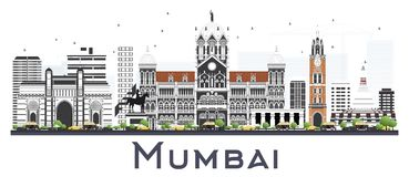 Mumbai India City Skyline with Color Buildings Isolated on White. Vector Illustration. Business Travel and Tourism Concept with Historic Architecture. Mumbai Royalty Free Stock Images