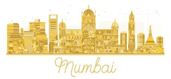Mumbai India City skyline golden silhouette. Vector illustration. Business travel concept. Mumbai Cityscape with landmarks Royalty Free Stock Photos
