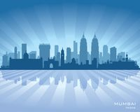 Mumbai India city skyline vector silhouette. Illustration Royalty Free Stock Images