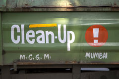 Mumbai, India. Clean up sign on a truck in Mumbai, India. Municipalities in India employ trucks to collect garbage from large bins placed at various locations royalty free stock image