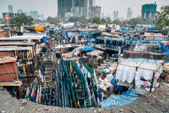 Dhobi ghat open air laundromat in Mumbai, India. Mumbai, India - December 18, 2017 - Dhobi ghat open air laundromat Stock Photo