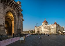 The Taj Mahal Palace Hotel and Gateway of India. Mumbai, India - February 11, 2018 - Every year thousands of tourist visit the most famous attractions of Mumbai Stock Images