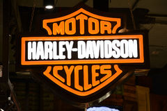 Harley-Davidson Logo. MUMBAI, INDIA - FEBRUARY 26, 2017: Logo of Harley-Davidson Inc, an American motorcycle manufacturer, founded in Milwaukee, USA in 1903 Royalty Free Stock Photo