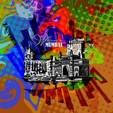 Mumbai, India Gate. Poster in pop art style. Mumbai, India Gate and the Taj Mahal Hotel Mumbai, the view from the Arabian Stock Photography