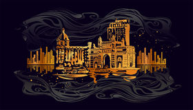 Mumbai, India Gate. And the Taj Mahal Hotel Mumbai, the view from the Arabian Sea. Vector golden and silver illustration on a black background Stock Photography