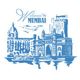 Mumbai, India Gate. And the Taj Mahal Hotel Mumbai, the view from the Arabian Sea. Vector monochrome illustration Royalty Free Stock Photo