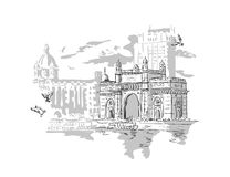 Mumbai, India Gate. And the Taj Mahal Hotel Mumbai, the view from the Arabian Sea. Vector monochrome illustration royalty free illustration