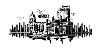 Mumbai, India Gate. And the Taj Mahal Hotel Mumbai, the view from the Arabian Sea. Vector monochrome illustration Royalty Free Stock Photography