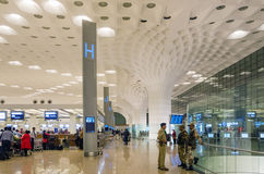 Mumbai, India - January 5, 2015: Crowd at Chhatrapati Shivaji International Airport. Stock Photo