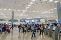 Mumbai, India - January 5, 2015: Crowd at Chhatrapati Shivaji International Airport. Royalty Free Stock Images