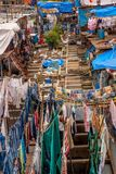 Dhobi Ghat at Mumbai. MUMBAI, INDIA - JULY,10 2016 : Famous Laundry in Mumbai - Dhobi Ghat Stock Photo