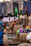 MUMBAI, INDIA - JULY,10 2016 : Laundry workers washing cloths at famous landmark in MUMBAI - Dhobi Ghat Stock Images