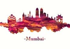 Mumbai India linia horyzontu w czerwieni ilustracja wektor