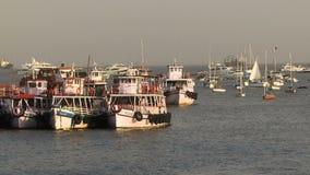 Mumbai India boats in Harbor. Mumbai India with many boats in the harbor stock footage