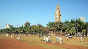 MUMBAI, INDIA - MARCH 2013: People in park playing cricket stock video