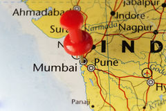 Mumbai India pinned map Royalty Free Stock Photo