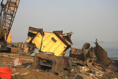 Mumbai/India - 23/11/14 - Scrap steel from the hull of a ship in Darukhana Ship Breaking Yard Stock Image