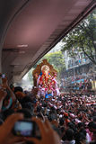 MUMBAI, INDIA - SEPTEMBER 29,2012 : Devotees bids adieu to Lord Ganesha as the ten-day-long Hindu festival ends in Mumbai. Royalty Free Stock Image