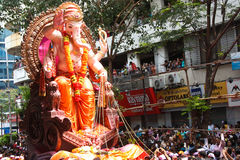 MUMBAI, INDIA - SEPTEMBER 22,2010 : Devotees bids adieu to Lord Ganesha as the ten-day-long Hindu festival ends in Mumbai. Royalty Free Stock Photo