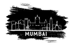 Mumbai India Skyline Silhouette. Hand Drawn Sketch. Vector Illustration. Business Travel and Tourism Concept with Modern Architecture. Image for Presentation Stock Image