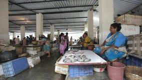Mumbai Indien Juli 2011: Upptagen fiskmarknad stock video