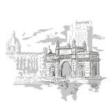 Mumbai Indien port stock illustrationer