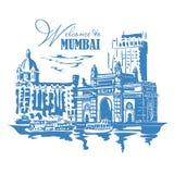 Mumbai Indien port vektor illustrationer