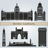 Mumbai landmarks and monuments. On blue background in editable vector file Royalty Free Stock Photos