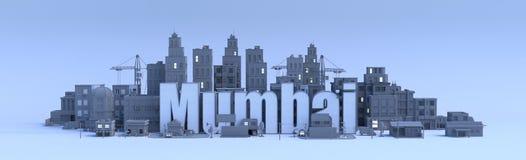 Mumbai alettering. Mumbai lettering, city in 3d render Stock Photography