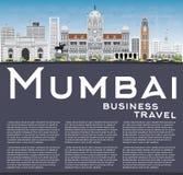 Mumbai linia horyzontu z Szarymi punktami zwrotnymi i niebieskim niebem ilustracji